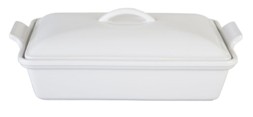 Le Creuset Stoneware Heritage Covered Rectangular Casserole, 4 qt. (12' x 9'), White