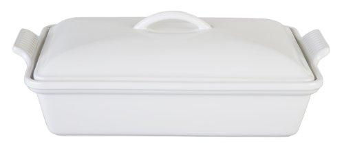 Le Creuset Heritage Stoneware Covered Rectangular Casserole, 4-Quart, White