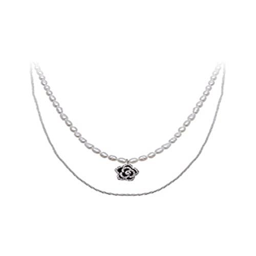 Collares para mujer doble luz Camellia collar doble cadena de clavícula, collar corto, regalos de cumpleaños para mujeres regalos para hombres