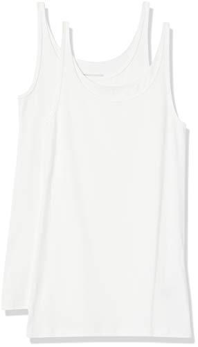 Amazon Essentials 2-Pack Thin Strap Tank Camiseta, Blanco/Blanco, S