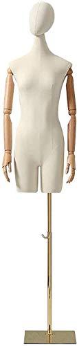 YZJL Torso Vestido de Cuerpo Completo Forma Femenina maniquí Cabeza Profesional Brazos para Ropa Vestido exhibición de joyería Altura ajustablemaniquí