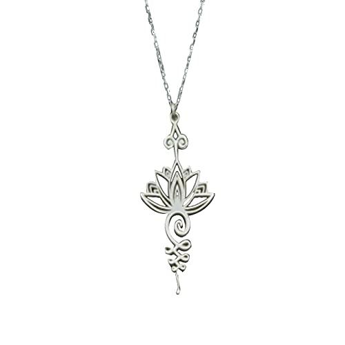 VELIHOME Colar de lótus vazado Unalome chaveiro joias budismo presentes espirituais, colar de lótus Unalome para mulheres, presente simples e moderno