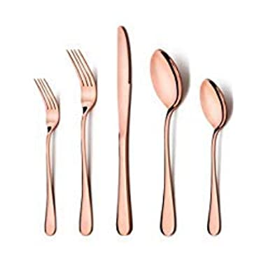 Rose Gold Silverware Set, LIANYU 20-Piece Stainless Steel Flatware Cutlery Set for 4, Copper Mirror Finish, Ideal for Home Hotel Wedding Festival Party, Dishwasher Safe