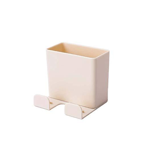 Soporte para colgar en la pared con mando a distancia para teléfono móvil, caja de almacenamiento, sin interruptor, enchufe, estante de almacenamiento para bolígrafos (beige)