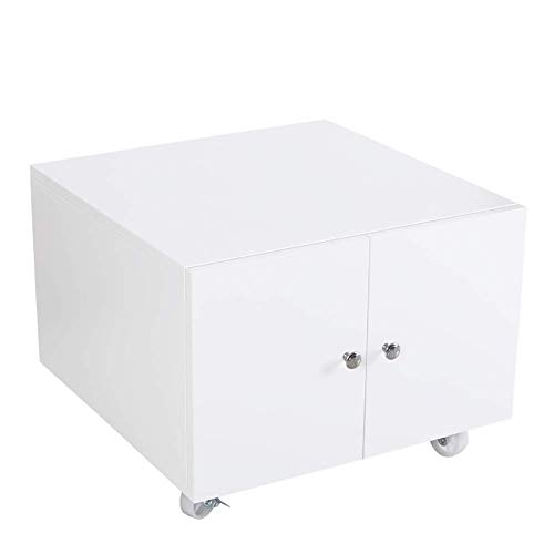 Archiefkast mobiele archiefkast met 2 deuren, mobiele datasorteerder, verticale office-scill-archiefkast en printerbasis voor het opslaan van A4-bestanden en voor het plaatsen van printers. C wit
