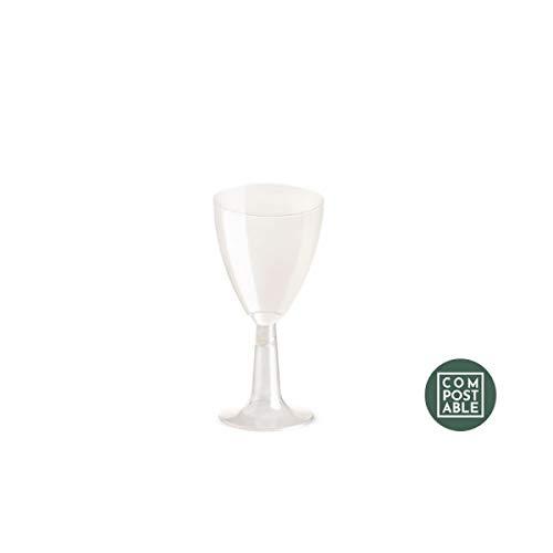 20 Biologisch Water Wijnglazen 100 cc h. 9.5 Bril met Clear PLA Stem Rigid Biologisch afbreekbaar en Composteerbaar Uni EN13432 Verwijderbaar in nat afval - Wijn en Drank Fluit