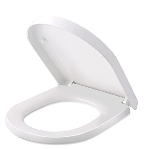 Tapa de WC, HIMIMI Asiento para Inodoro, Asiento de Inodoro en Forma de D, Bisagras Ajustables, Cierre Suave Lento, Desmontaje rápido, Fácil de Limpiar(450 x 361 x 53 mm) ✅