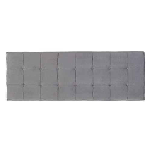 Cabecero tapizado capitoné de Terciopelo Gris para Cama de 150/180 cm - LOLAhome