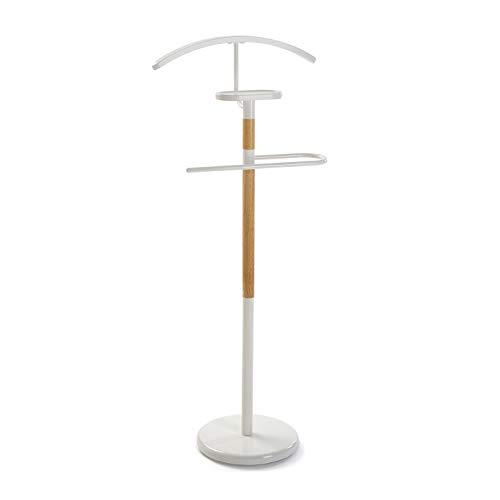 VERSA Holstebro Servo Muto Moderno Multifunzionale, Appendiabiti indossatore Porta Abiti per Camera, Misure (A x L x l) 112 x 28,8 x 46,5 cm, Metallo e Legno, Colore Bianco