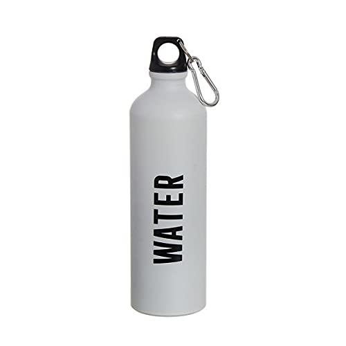 Botella de agua de aluminio para deporte ligero 100 gramos 750 ml, con tapa de seguridad y mosqueton, Libre de BPA, para gym, viaje, ciclista, camping (Blanco (Water))