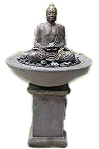 tall Ornate stone buddha patio fountain water feature garden ornament