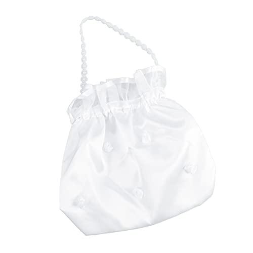Amosfun Bolsa de dinero para ceremonia nupcial de la novia para el bolso de novia bolsos de las mujeres accesorios día perla de bolsos - Dolly bolsa decorada blanca