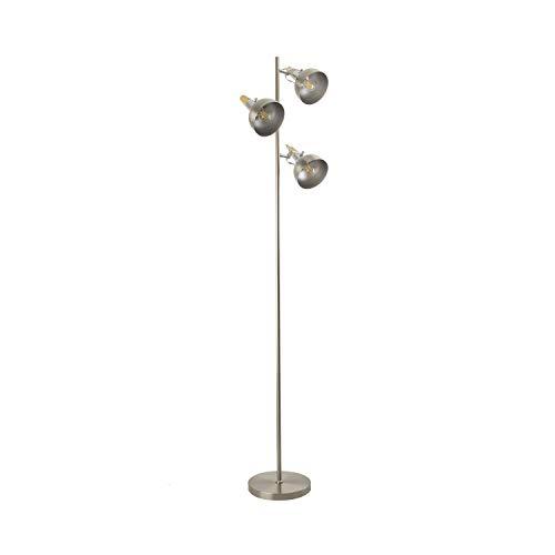 LEDKIA LIGHTING Lámpara de Pie Emer 3 Focos Plata PlataPlata
