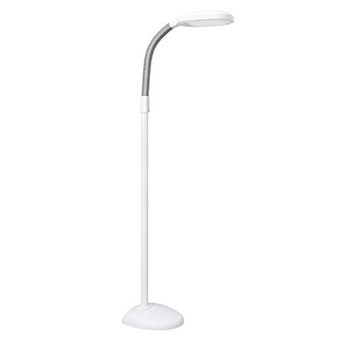 Verilux SmartLight Full Spectrum LED Modern Floor Lamp with Adjustable Brightness, Flexible Gooseneck and Easy Controls - Reduces Eye Strain and Fatigue - Ideal for Reading, Artists, Craft (White)