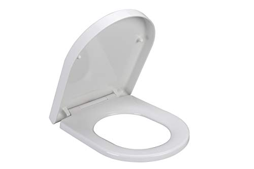 Grünblatt High-End Duroplast WC Sitz 515062 D-Form Absenkautomatik, abnehmbar zur Reinigung, passend zu meinsten D-Form WC Schüssel, e.g. Keramag icon, 4U etc.