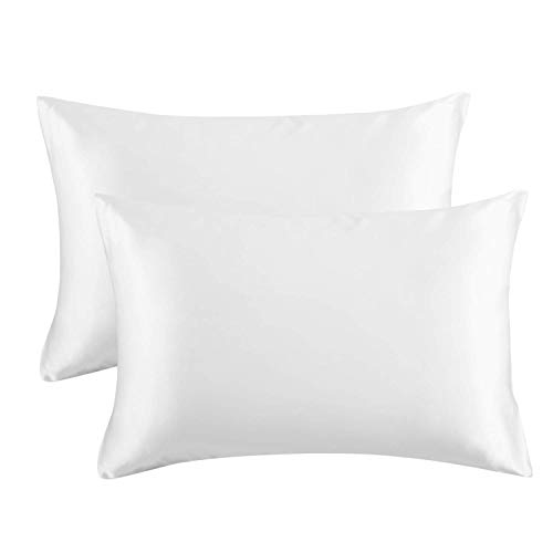 Dependable Industries Soft Silky Satin Standard Or Queen Size Pillow Case Set of 2, White Promotes Skin and Hair Health Size 20' X 30' Zippered Envelope Closure