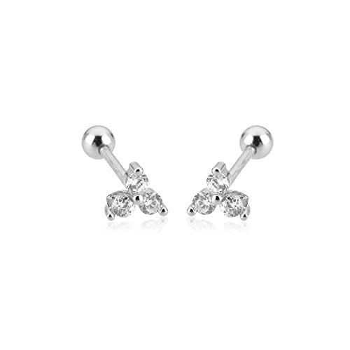 Plata de ley 925 Pendientes de plata Tres circonitas Charoques Clips de perlas Mini colgante Pequeño extremo de joya para mujer Regalo-Perno de cuentas de plata