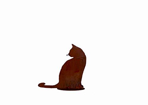 Keyhome Scultura In Ferro Gatto Color Ruggine Con Piedistallo H. 30 - Decorazione Da Giardino