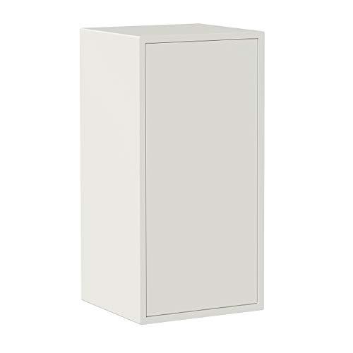 Iconico Home QBE Cubo da parete, 1 ripiano, con anta apertura a pressione, Ingresso, Soggiorno, Camera da letto, Cameretta ragazzi, Studio, 37,5x35xh75 cm, Bianco