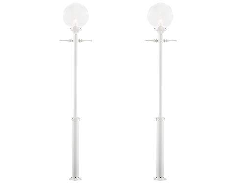 KONSTSMIDE 2er-Set Mastleuchten / Kandelaber ORION, E27, klares Glas, weißes Aluminium, Höhe 240 cm; 468-250