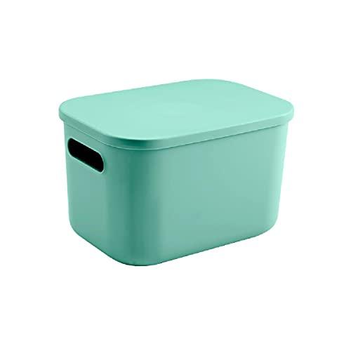 Cajas de almacenamiento plástico con tapas y asas,cajas almacenamiento decorativas apilables Recipientes para almacenamiento y organización Se utilizan para ropa,juguetes,bocadillos,etc.,Green-M