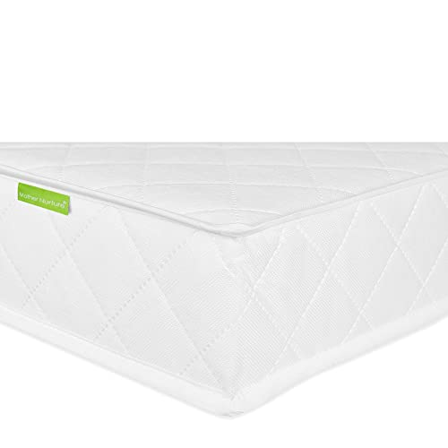 Mother Nurture Classic Spring Cot Bed Mattress, White, 140 x 70 x 10cm (with Spare Cover)