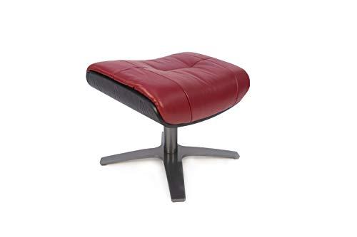 MND My New Design Hocker, Vega, Fußhocker, Design mit schwarzer Holzschale, (Rot, Leder)