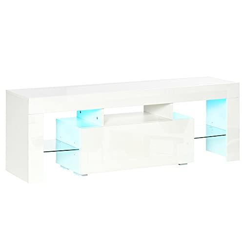 HOMCOM Mueble de TV Moderno Mesa de Salón para Televisión con Luces LED con Mando a Distancia Estantes de Cristal Ajustables y Cajón 130x35x45 cm Blanco Brillante
