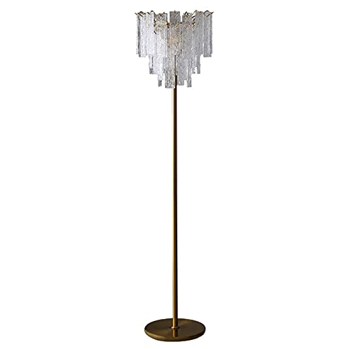 LJFLI Lámpara de pie de Cristal Oro Gota de Agua Estilo Minimalista de Lujo Ligero Vidrio nórdico posmoderno Sala de Estar Dormitorio sofá Junto a la lámpara de pie Vertical