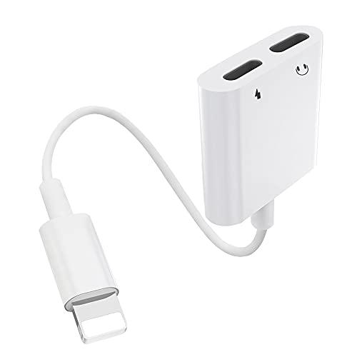 [5en1] Adaptador para auriculares para iPhone Puerto dual Lightning [Certificado MFi] Conversor de conector de audio Compatible con iPhone 12/11/7/7P/8/8P/XS/XR/X Compatible con todos los sistemas iOS