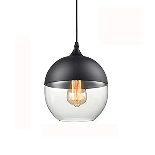 Moderno techo colgante claro claro vidrio y negro metal cúpula lámpara de cúpula nórdica arte deco araña para la isla de la cocina Hallway Coffee Loft Bar Shop Club [Clase de energía A ++]