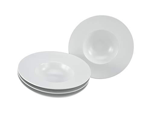CreaTable, 23095, Serie ROMA GOURMET-matt glazes, crockery set, pasta plate 4 pieces, white 25 cm, Stoneware