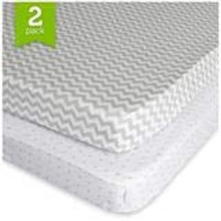 Playard Sheet Set 2 Pack Fitted Jersey Knit Cotton Portable Mini Crib Sheets