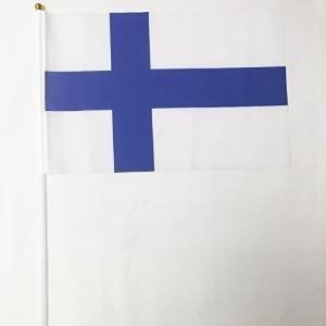 vliegenoorsprong hand gehouden vlag Finland