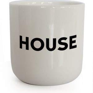 PLTY - Taza House - Taza sin asa - Porcelana blanca vitrificada a mano - Coffee Mug - Music Beat - Diseño danés