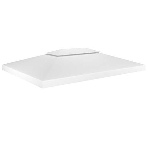 vidaXL Gazebo impermeabile a 2 livelli, per feste e giardino, copertura di ricambio per tetto, 310 g/m², 4 x 3 m, colore bianco