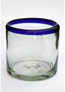 Mexican Blown Glass DOF Rock Glasses Cobalt Blue Rim (Set of 6)