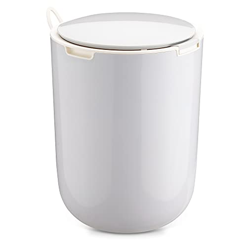 Navaris Cubo de Basura para baño - Papelera de 8 L con Tapa y botón pulsador sin Pedal - para baños Escritorio habitación Oficina Cocina - Gris
