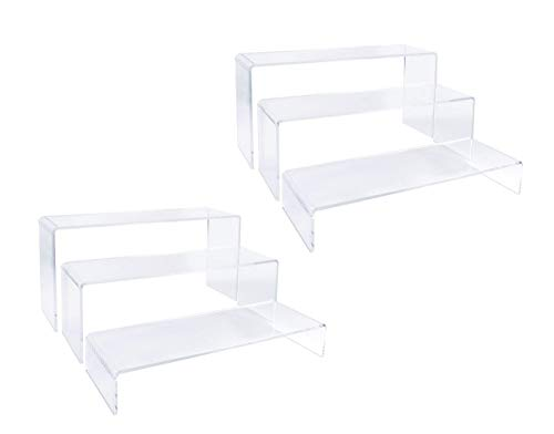 2 Sets Clear Acrylic Display RisersCupcake Stand for Dessert Buffet Cake Table Decorations–Showcase Shelf for Figures Jewelry Display Riser Stands Shelves Fixtures CaseRectangle Shape