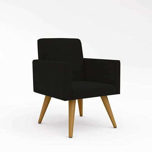 Kit 2 Cadeiras Poltronas Decorativas Recepção Suede Preto Desenho do tecido:Suede; Preto