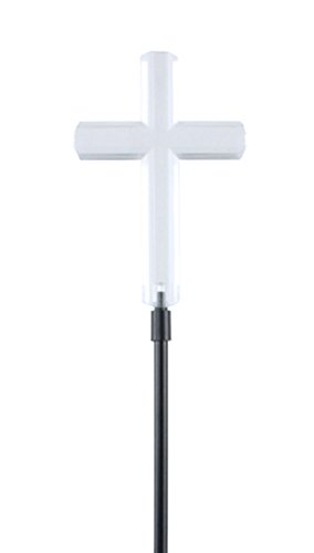 Moonrays 93243 Solar Stake Light Made of Clear Plastic with White LED Light, Cross Design, Eco Friendly, Automatic Light, Beautiful Accent for Gardens or Yard, Easy Installation