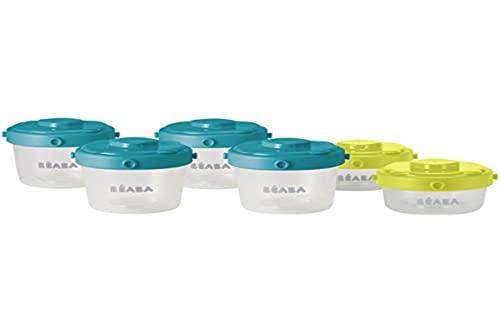 BÉABA Juego de 6 Tarritos de Conservación, Recipientes apilables y con clip, 100 % herméticos con Graduación, Congelación, 2x60ml + 4x120ml, Azul/Amarillo