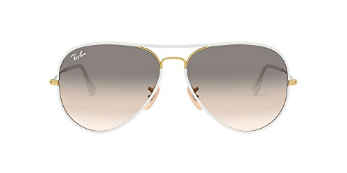 Ray-Ban Aviator RB 3025, Gafas de Sol Unisex, Multicolor (Transparente/Dorado), 58 mm