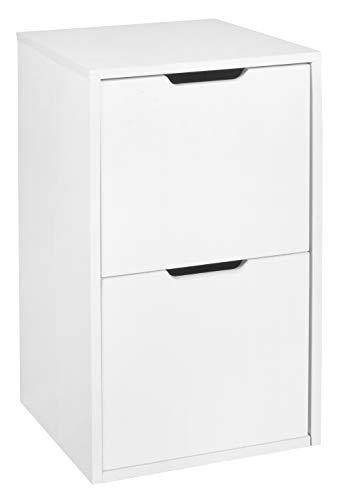 Niche Mod Freestanding Pedestal Two Drawer Filing Cabinet, White Wood Grain