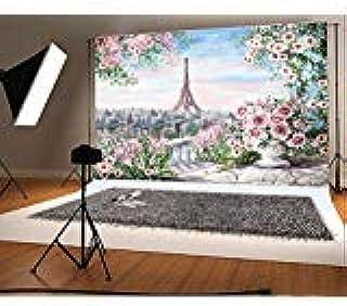 Laeacco Fotohintergrund aus Vinyl, Fantasie, Aquarellmalerei, Blumen, rosa Ton, Paris, Eiffelturm, Landschaft, Hintergrund für Kinder, persönliches Portrait, 2,2 x 1,5 m