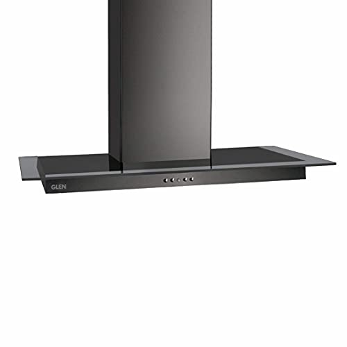 Glen 60cm 1000 m3/hr Wall Mounted Kitchen Chimney 2 Baffle Filters Push Buttons (6062, Black)