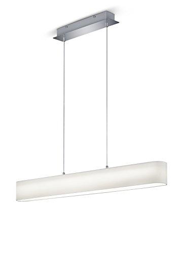 lightling modern LED-Pendelleuchte Chantal mit integriertem 18W LED Leuchtmittel (A) und Switch Dimmer, Stoffschirm weiß, 100 x 150 x 8.5 cm