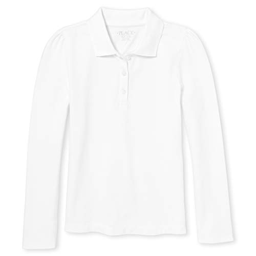 The Children's Place Girls' Little Uniform Long Sleeve Polo, White 43864, Small/5/6
