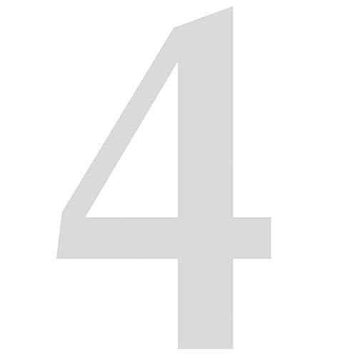 Zahlen-Aufkleber Nr. 4 in silber I Höhe 20 cm I selbstklebende Haus-Nummer, Ziffer zum Aufkleben für Außen, Briefkasten, Tür I wetterfest I kfz_480_4