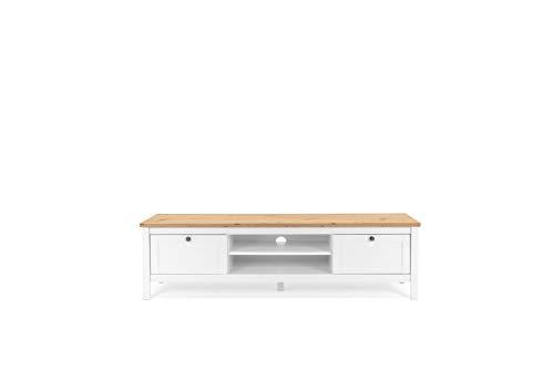 Landhaus TV-Board (B/H/T: 160 x 45 x40 cm) 2 Schubkästen   inkl. Kabelauslass   Stollenfüße   Metallbeschläge antik   Magnetverschluss